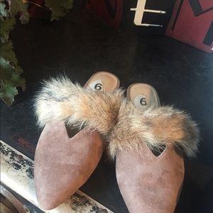 Shoes - Joe's Jeans furry slides.